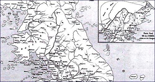 1855년 파리지리학회지에 실린 지도의 일부. 1846년 김대건 신부의 지도라고 설명이 붙어있다. 오른 쪽 상단의 지도를 보면 압록강 이북도 조선영토로 되어있다. (박선영 교수 제공) 1855년 파리지리학회지에 실린 지도의 일부. 1846년 김대건 신부의 지도라고 설명이 붙어있다. 오른 쪽 상단의 지도를 보면 압록강 이북도 조선영토로 되어있다. (박선영 교수 제공)